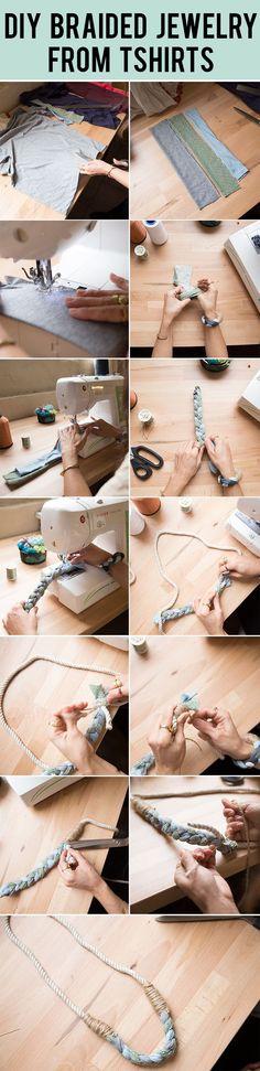Easy Tutorial // DIY Braided Jewelry from Tshirts