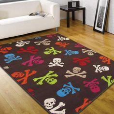 Novelty Cross bones multi Rug #large #children #rugs