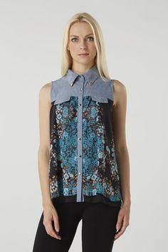 Floral Sleeveless Denim Shirt at Izabel