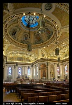 Dome and interior of Cathedral Saint Joseph. San Jose, California, USA