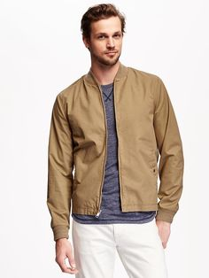 Twill Summer-Weight Bomber Jacket for Men
