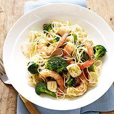 Seafood Pesto Pasta #myplate #seafood #slowcooker