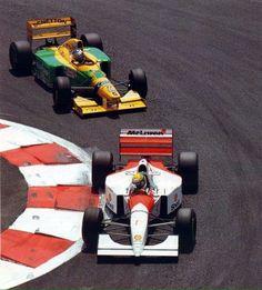 Ayrton Senna (McLaren-Ford MP48). Michael Schumacher (Benetton-Ford B193B). French GP, 1993