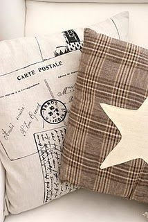 lovely #pillows: postal stamp and star applique on tartan  (not sure if there's a pattern)