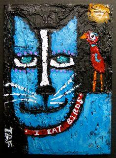 """I Eat Birds"" an original acrylic aceo by me. #cat #bird #outsiderart #aceo #minipainting #acrylicpainting #raw #brut #bluecat #redbird"