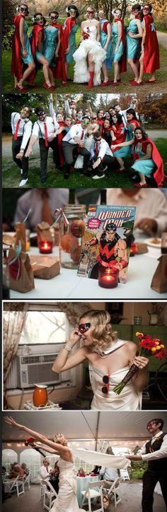 Super hero wedding. Bride has cape! Good idea for my Batman wedding
