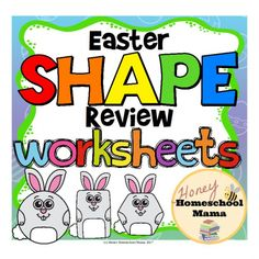 Easter Shape Review Worksheets - 3 Different Levels of Work - These fun worksheets feature bunny shapes and 3 levels of work to help all your students become better at recognizing and naming shapes. (aff link)