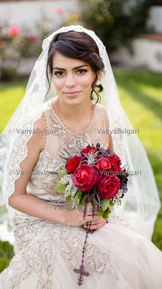 Beaded lace veil in fingertip length Spanish by VanyaBvlgari