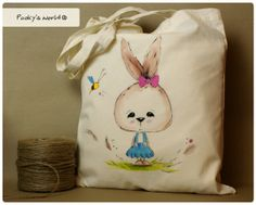 Cotton hand painted bag with bunny  long handle by Pookysworld, $12.00