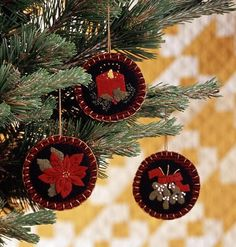 "Season's Best Ornaments | AllPeopleQuilt.com Celebrate the warmth of the holiday season with these quick-to-stitch wool ornaments. Designer: Sharon Stewart of Liberty Rose Patterns 6—4"" squares of red-and-black mini-check felted wool...Finished ornament: 3-1⁄2"" diameter"