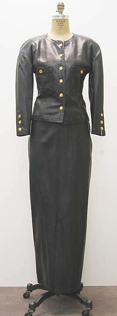 Evening ensemble, leather with metal and synthetic, Karl Lagerfeld designer for House of Chanel, French, 1983