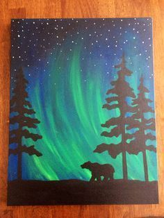 northern lights watercolour child painting - Google Search
