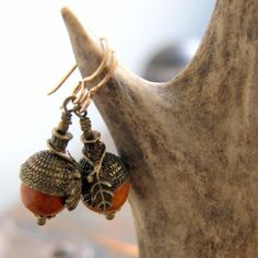 Acorn Earrings with Redwood Beads and Antiqued Brass Acorn Caps