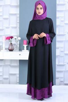 TOFİSA - (2 PİECES) Dress , Hijab COMBİNE - Black & Purple 02 0778