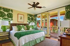 Tropical cottage bedroom at Kukuiula #decorating #Kauai #Hawaii