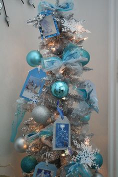 Frozen Christmas Tree Silver and Aqua by SparkleDayDesign on Etsy, $300.00