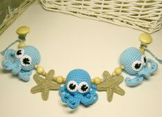 Crochet octopus pram toy Stroller toy with octopus Christmas gift Crochet starfish pram chain Toddlers toy Crochet rattle Baby shower gift by PatiikCrochet on Etsy