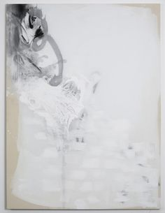 Suzanne McClelland   White Left. 2011  Polymer and stainless steel pigment on canvas  64 x 48 in / 162.6 x 121.9 cm