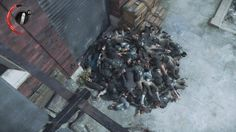 I piled all the bodies from the first level in Dishonored 2