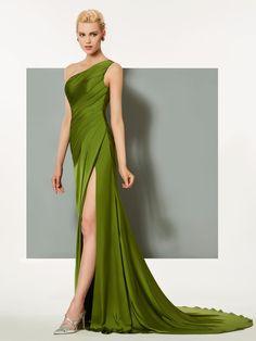 Ericdress Sheath One Shoulder Pleats Side Slit Long Evening Dress, Evening Dresses Online, Designer Evening Dresses, Evening Gowns, Stylish Dresses, Elegant Dresses, Fashion Dresses, Next Dresses, Prom Dresses, Formal Dresses