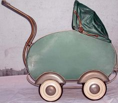 victorian baby buggy | Antique Green Victorian Deco Baby Doll Carriage Buggy Silver Fender ...