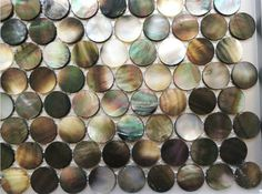 Handmade Black Round Penny Mother of Pearl Seashell Mosaic Tile For Bathroom,Kitchen,Wall,Spa Shower Backsplash Tile Shower Backsplash, Kitchen Backsplash, Online Tile Store, Pool Shower, Tile Stores, Fireplace Wall, Natural Texture, Bathroom Wall, Mosaic Tiles
