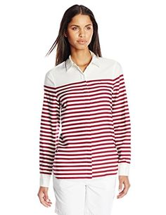 Lacoste Women's Long Sleeve Twill Placement Stripe Slim Fit Woven Shirt, White/Beaujolais, 32 ** See this great product.