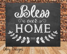 INSTANT DOWNLOAD, Bless Our Home, Home Decor Printable, Chalkboard printable, DIY, 300 dpi