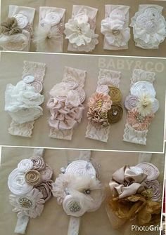 "diy_crafts- ""Very pretty headbands to"", ""Lace and flower headband"", ""Discover thousands of images about Bows"", ""This post was discovere Diy Baby Headbands, Diy Headband, Baby Bows, Rosette Headband, Diy Hair Accessories, Clothes Crafts, Baby Crafts, Flower Tutorial, Handmade Flowers"