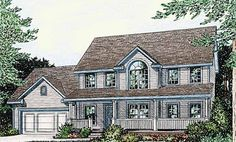 *FAVORITE* Eplans Farmhouse House Plan - Cozy Central Hearth - 1960 Square Feet and 3 Bedrooms from Eplans - House Plan Code HWEPL05387