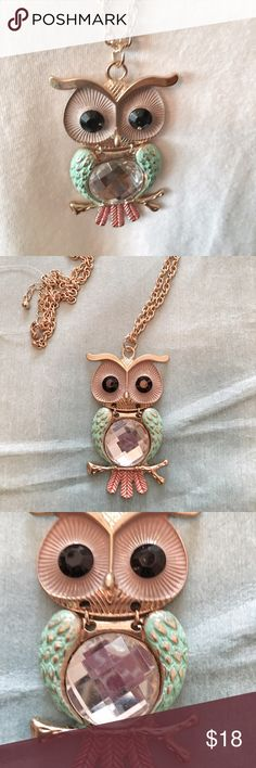 Springtime Owl necklace Mint green wings and peach colored feathers at bottom. Wide black bead eyes set in cream. Gold tone chain. Ready for festivals, t-shirts and beyond. Hoot! Hoot! Jewelry Necklaces