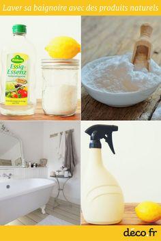 Exit les produits chimiques, place aux produits naturels pour nettoyer et entretenir sa baignoire. Bicarbonate, citron, vinaigre blanc, voici 3 ingrédients écologiques qui redonneront brillance et blancheur à votre baignoire.