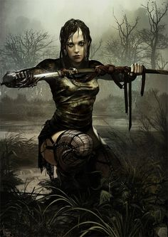 "Fantasy woman with sword in the bog -> ""Railla Karnokailen II"" by Tomasz Jedruszek at http://morano.cgsociety.org/art/photoshop-railla-karnokailen-ii-2d-607830"