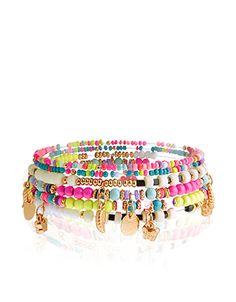 Neon Charm Stretch Bracelets   Multi   Accessorize
