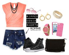 """""""ripped denim shorts!"""" by nidwizabhatta ❤ liked on Polyvore featuring River Island, Converse, Warehouse, Vera Bradley, Olivia Pratt, Jennifer Lopez, Bling Jewelry, Cartier, Charlotte Russe and women's clothing"""