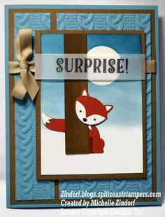 Foxy Surprise Stampin' Up! Card created by Michelle Zindorf - Foxy Friends, Fox Builder Punch Stampin Up Foxy Friends Cards, Foxy Friends Punch, Cards For Friends, Stampin Up Cards, Scrapbooking, Scrapbook Cards, Cool Paper Crafts, Fox Decor, Beautiful Handmade Cards