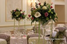 Wentbridge House Hotel - Wedding reception  table decorations. www.uniqueweddingflowers.co.uk