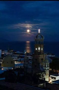 Moon At Puerto Vallarta, Mexico Beautiful Places To Visit, Great Places, Places To Travel, Places To Go, Puerto Vallarta, Mexico Travel, Beautiful Buildings, Vacation Destinations, Vacations