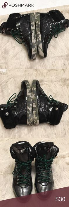 """Men's Faux Fur Black High Top """"Glenn Mid"""" Camo sole, Faux Fur trim, very stylish, Men's size 12, gently used, no box Roos Shoes Sneakers"""