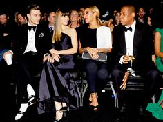 Friends of a feather flock together. Justin Timberlake, Jessica Biel, Beyonce and Jay-Z chit-chat in the front row at the Grammys!