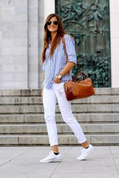 Sober and Sexy white pants + striped shirt Outfits0351