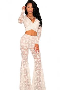 White Lace Sheer Long Sleeve Bell Bottom Ladies Pants Suit - PINK QUEEN