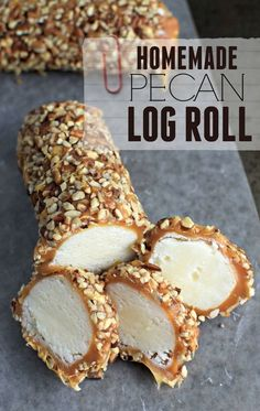 Pecan Log Roll Recipe makes approx. 8 delicious pecan logs covered in cream. This Pecan Log Roll Recipe makes approx. 8 delicious pecan logs covered in cream.This Pecan Log Roll Recipe makes approx. 8 delicious pecan logs covered in cream. Pecan Recipes, Sweet Recipes, Fudge Recipes, Cake Roll Recipes, Easy Recipes, Christmas Desserts, Christmas Baking, Homemade Christmas Candy, Christmas Cookies