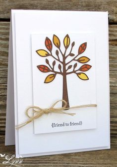 handmade card from Creative Crafts by Lynn ... clean and simple lines ... die cut ree with inlaid leaves in Fall colors ... luv the popped up layers and twine wrapping on the top layer ...