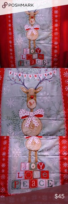 "🎅🎄Holiday Throw Super cute Holiday lightweight throw blanket with super soft fleece and reindeer panel.  Handmade by me. 35"" X 50"" Other"