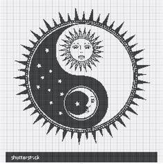 stock-vector-vector-yin-yang-symbol-with-sun-moon-faces-stars-abstract-occult-an. - stock-vector-vector-yin-yang-symbol-with-sun-moon-faces-stars-abstract-occult-and-mystic-sign-black - # Cross Stitch Bookmarks, Cross Stitch Borders, Cross Stitch Alphabet, Cross Stitch Designs, Cross Stitching, Cross Stitch Embroidery, Cross Designs, Cross Stitch Pattern Maker, Cross Stitch Needles
