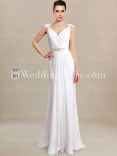 Casual Beach Wedding Dress with Lace Cap Sleeves BC812