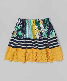 Love this Navy & Mustard Floral Tiered Skirt - Toddler & Girls by Beary Basics on #zulily! #zulilyfinds