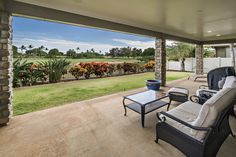 The resort-like expansive grounds are designed to impress with a double rear yard lanai, manicured garden and the calming view of the Prince Golf Course.