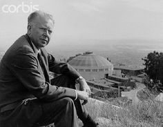 Physicist Ernest O. Lawrence sits on a hillside overlooking the Lawrence Berkeley National Laboratory at the University of California, Berkeley.